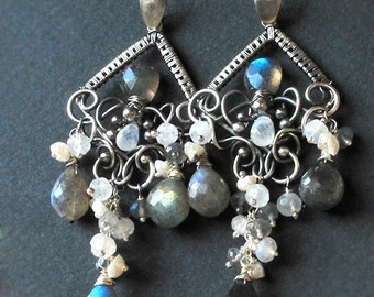SALE-20% OFF - Efflorescence-Labradorite, rainbow moonstone, keishi pearls Fine999, sterling silver chandelier earrings