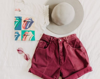 Maroon Nuovo County Seat High Waisted Shorts   cut off shorts   denim shorts   jean shorts   mom jean shorts   mom jeans   vintage denim