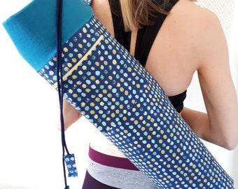 NEW DESIGN * Blue Dot Print, Large Yoga Mat Bag with zipped pocket