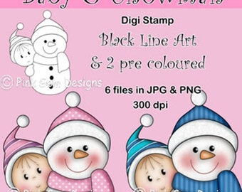 Digi Stamp Baby & Snowman. Black Line Art  and Pre Coloured Versions In Pink and Blue. 6 Files JPG/PNG