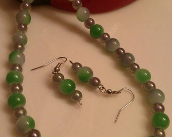 Handmade Beaded Necklace - Beaded Handmade Jewelry - Cats Eye Beaded Necklace - Beaded Earrings - Shades of Green - Glass Crystal Beads