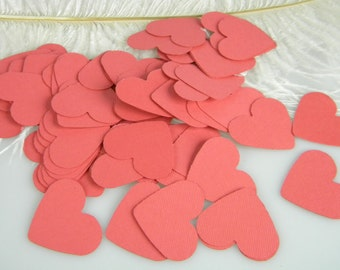 Confetti Coral Heart / Wedding Table Scatter / Tiny Gift Tags 1.5 Inch / Invitation Confetti / Coral Party Decorations /  150pcs