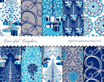 Scrapbook Paper Pack Digital Scrapbooking Background Papers Pack CHRISTMAS Swirl TREE Navy BLUE Gray Grey White 10 8.5 x 11 1279gg