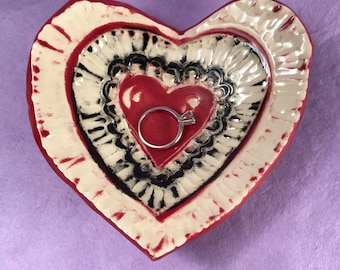 Carved Clay Heart Ring Dish or Spoon Rest