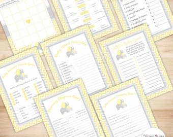 Elephant Games Package - Baby Shower Game - Yellow Chevron - PRINTABLE, INSTANT DOWNLOAD