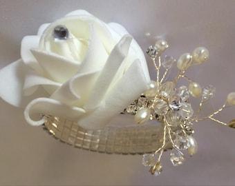 SUNSHINE - Bling & Pearl Wrist Corsage