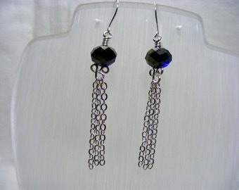 Blue Crystal Tassel Earrings