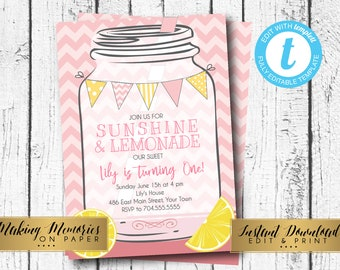 Pink Lemonade Birthday, Girls First Birthday Lemonade,  Mason Jar Lemonade, Lemonade Party, INSTANT download, DIY, Invite, edit yourself