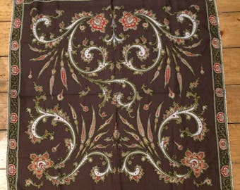 Silk square scarf. Retro vintage print. Brown/green paisley. 70's. Hand rolled edges.