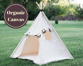 Organic Canvas Play Tent, Two Sizes, Kids Teepee, Unique Roll Up Door and Window, READY TO SHIP,  No Flame Retardants or Chemical Treatments