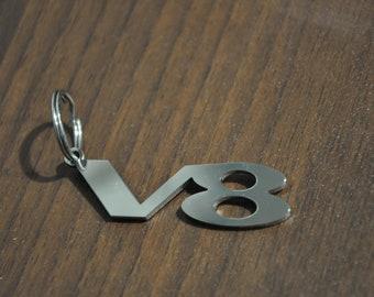 V8 keychain keyring keyfob stainless steel