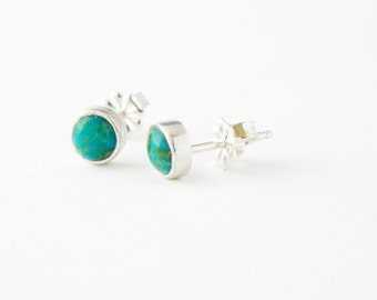 Mixed metal jewelry silver and turquoise stud earrings