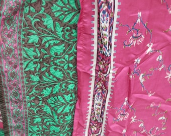 Plus Size Fuschia,Cream, Emerald and Dark Chocolate Vintage Sari Wrap Skirt