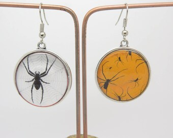 EARRINGS cabochon spider theme Halloween magic sorcerer