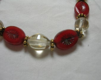 Necklace and Bracelet Persimmons and Gold  czech bead Jewelry Set