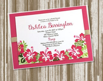 Tropical Hawaiian Hibiscus Theme Bridal Shower Invitation Set of 50--CUSTOM PRINTED Includes Envelopes (2.50 each)