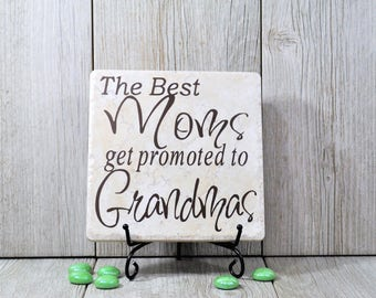Mothers Day Gift, The Best Mom's Get Promoted to Gramas, Home Decor, Tile Quote, Decorative Tiles, Grandparents, Grandchildren