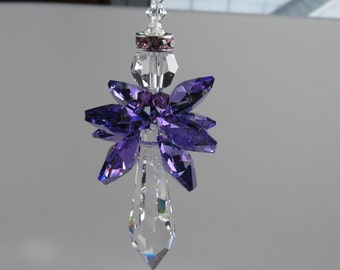 Swarovski Crystal Angel Suncatcher, Guardian Angel, Angel Suncatcher, February Birthstone, Purple Amethyst Angel , Keira's Crystal Creations