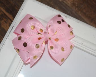 Pink and Gold Metallic Dot Large Pinwheel Bow