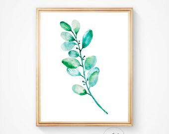 Botanical art print, Watercolor leaf art, Nature art print, Home decor, Watercolour print, Leaf art print, Watercolour, Apartment wall art