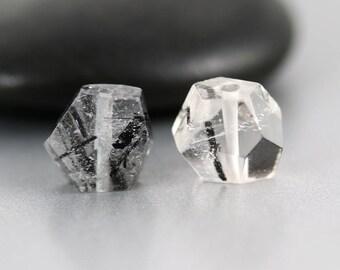 Black Rutilated Quartz Beads - 10 mm - Rutilated Quartz - Nugget Bead Pair