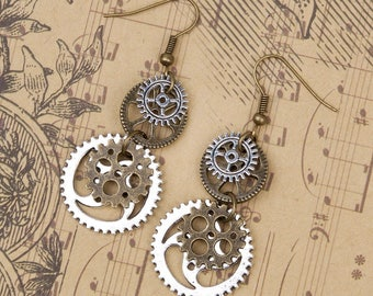 Steampunk Gear Dangle Earrings