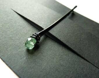 Seltene grüne Kyanit Bobby Pin - 5 mm grün Stein - kleine Edelstein Bobby Pin