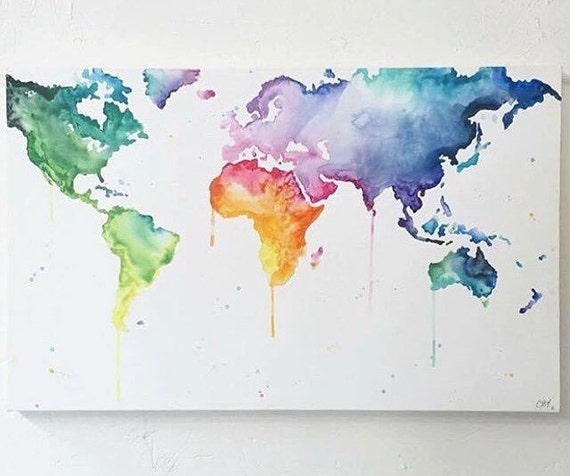 Items similar to world map multicolour wanderlust hand painted items similar to world map multicolour wanderlust hand painted canvas wall art map on etsy gumiabroncs Image collections