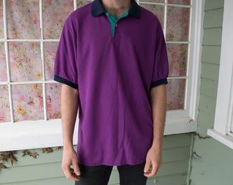 Vintage 80s 90s Color Block Polo Purple Teal Shirt