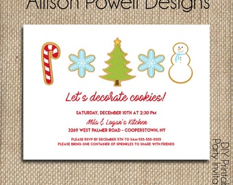 Kids Cookie Decorating Party Invitation - Christmas Cookie Party- Custom Printable DIY Invitation