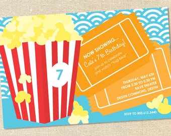 Sweet Wishes Popcorn Movie Sleepover Birthday Party Invitations - PRINTED - Digital File Also Available