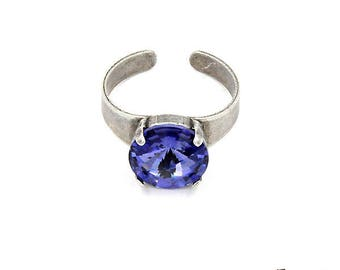 Ring, Swarovski crystals, silver antique, tanzanite, Adjustable ring size, nickel free, handmade jewelry