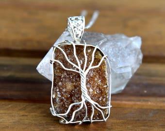 Tree of Life Citrine Druzy Pendant