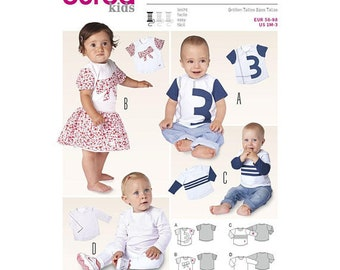 Burda 9408 Size 1 Month - 3 Yrs Infant and Toddler T-Shirts Sewing Pattern / Uncut FF