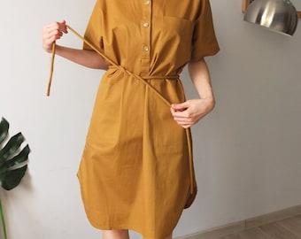 mustard shirt dress with self-tie rope belt