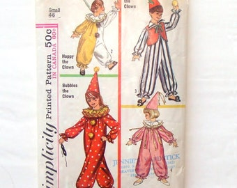 Vintage 1965 Simplicity Toddler Clown Costumes Pattern #6198 - Size Small 4-6 - Cut and Complete