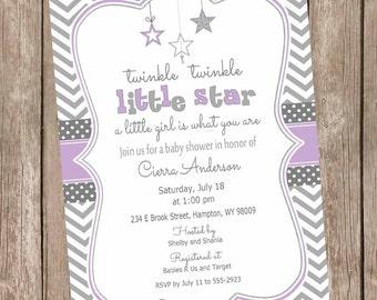Twinkle twinkle little star baby shower invitation, purple and gray girl baby shower invitation, star invitation, purple and grey TLSP