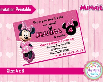 Minnie Mouse Birthday Party Invitation - Printable
