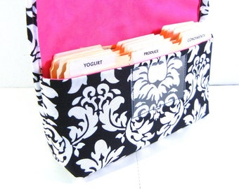 Coupon Organizer Holder, Coupon Wallet, Coupon Carrier Damask Fabric Black and White