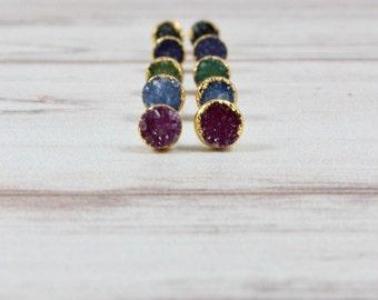 Druzy Gold Earrings, Druzy Stud Earrings, Druzy Earrings, Druzy Studs, Tiny Stone Earrings, Small Earrings, Womens Gift, sparkly druzy