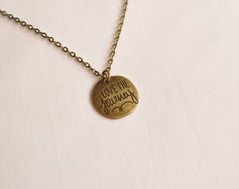 Love the Journey Pendant Necklace, Antique Gold Plated