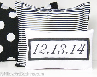 Mini Pillow with Numbers Date Decoration Engagement Wedding Anniversary Special Occasion White Cotton Made in Canada