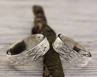 Matching engagement rings, Weaving wedding bands, Couple silver bands, Unique silver wedding rings, Wave wedding bands, His her promise ring