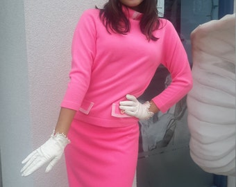 Vintage 1960 Mad Men Neon pink skirt and shirt FREE SHIPPING from RCMooreVintage
