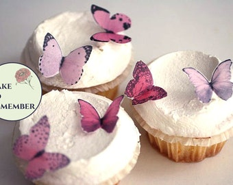 Wedding cupcake toppers 24 small shades of pink edible butterflies cupcake decorations, edible decorations for enchanted forest wedding