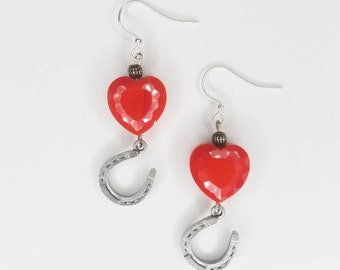 Red Heart and Lucky Horseshoe Earrings