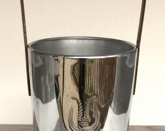 Ice Bucket Vintage Silver Bucket Industrial Decor Barware Vintage Art Deco Barware Metal Buckets Champagne Bucket Stainless Steel Bucket