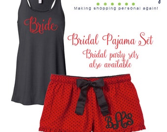 Bride to be Pajama set, Personalized bridal pajamas, embroidered boxers and personalized tank top pajamas, red and black polka dot boxers