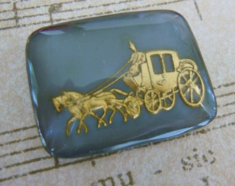 Vintage glass intaglio cameo or cab romantic Cinderella stagecoach Bridal Wedding coach gray silver gold silver reverse etched painted (1)