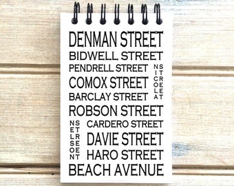 West End Vancouver B.C. - Love This Place - Street Name Notebook - Busroll Notepad Journal Custom Gift B.C. - Canada